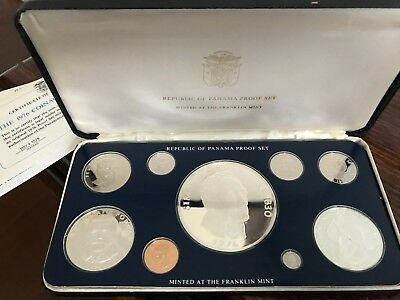 1976 Republic of Panama 9 Coin Silver Proof Set w/ Case