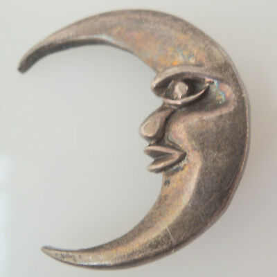 Vintage 925 stamped sterling silver man in crescent moon brooch