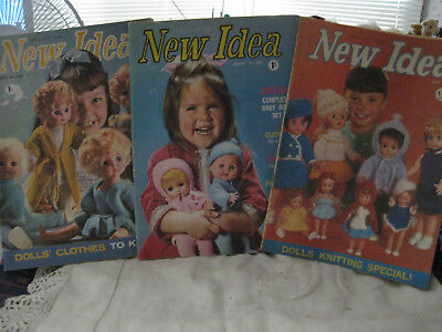 3 Vintage New Idea Magazine Doll Clothes Special Magazines- 1960's