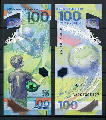 2018 Russia, FIFA World Cup Russia™, soccer, football, 100 rubles, Polymer, UNC