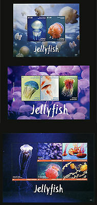 2017 Antigua & Barbuda, marine life, jellyfish, 2 S/sheets + sheet, MNH