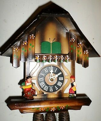 Very Nice Working German Black Forest Figural Musical Wood Chalet Cuckoo Clock