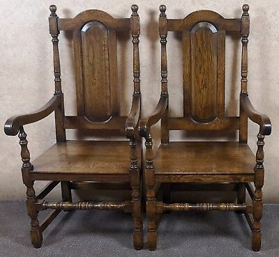 LARGE PAIR OF ENGLISH OAK ARM CHAIRS IN THE 18th CENTURY STYLE