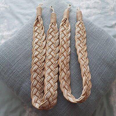 Pair Of Good Quality Braided Satin Rope Curtain Tie Backs Cream/Gold Exc Cond