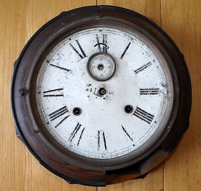 Antique/Vintage Wall Clock with Spring Driven Movement For Spares or Repair