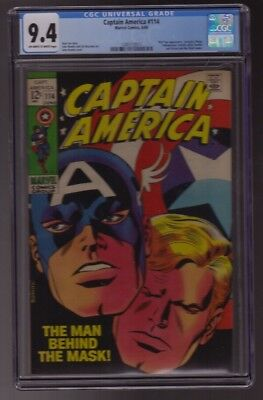 CAPTAIN AMERICA #114 CGC 9.4 OW-WHITE PAGES 1969 RED SKULL Avengers ROMITA