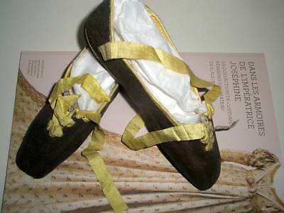 RARE ANTIQUE REGENCY EMPIRE LEATHER SHOES YELLOW RIBBONS FRENCH ca. 1811