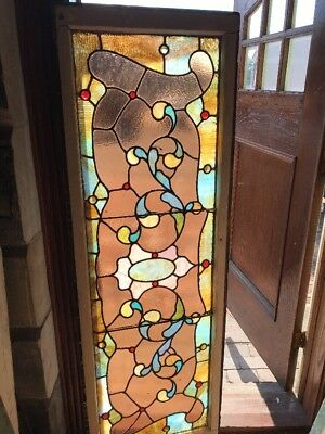 Sg 2390 Antique Stainglass Jeweled Transom Window 21.75 X 65