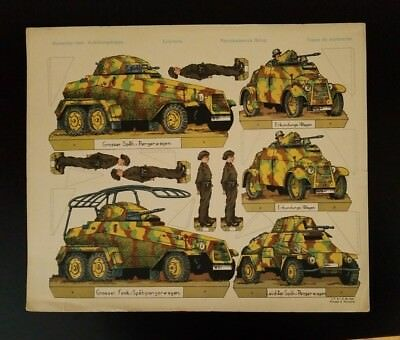 """1930's (WWII) German Print ~ Paper Cut-Outs Artwork ~ 14""""x17"""""""