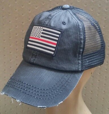 3f0b04ff Red Line Flag Distressed Trucker Hat Low Profile Cotton Mesh Red & White USA