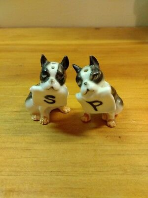 Vintage Boston Terrier Salt and Pepper Bone China Japan
