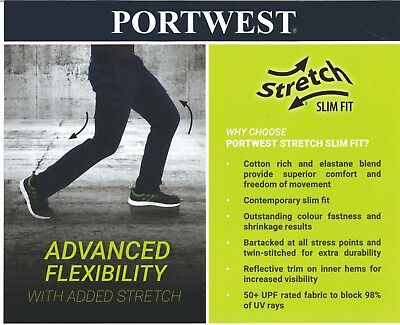 Portwest Stretch Slim Fit Combat Black Work Trousers