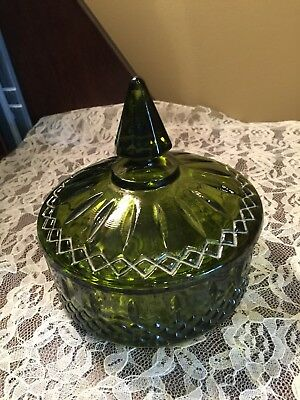 VIntage Indiana Depression Glass GREEN GLASS Candy Dish with Lid Diamond Pattern