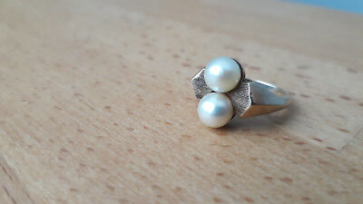 Vtg Vintage Art Deco 10k Gold Double Pearl Signed Sz 5.5 Ring Antique