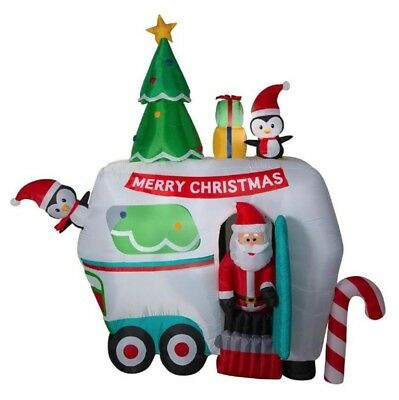 Pre-order 9 Ft ANIMATED SANTA IN HOLIDAY CAMPER Airblown Lighted Inflatable