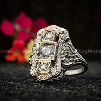 Unusual Art Deco Vintage Victorian Antique Engagement Wedding Ring Circa 1910