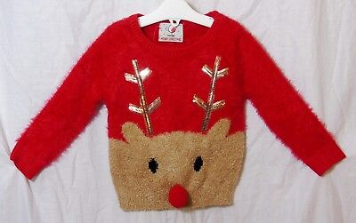 NEW Baby Girls Red Sparkly Sequins Soft Fluffy Xmas Reindeer Jumper Age 12-18-24
