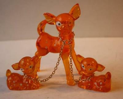 Mamma Deer with 2 Fawns On Chain Figurines-Vintage Orange Lucite Acrylic Set 3