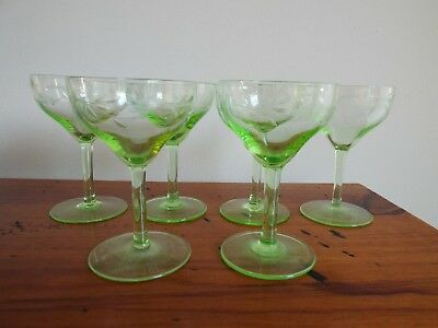 Rare set of 6 Victorian Uranium green English cut small wine crystal glasses