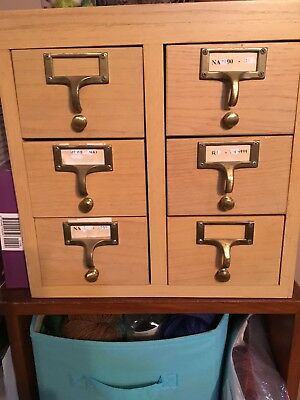 Oak Library Card Catalog 6 Drawer