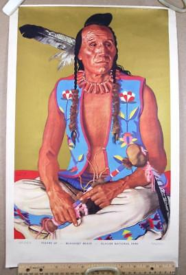 "1930s Big 21"" Winold Reiss Litho Print Great Northern Ry Blackfeet travel poster"
