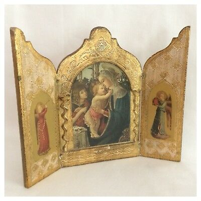 Vintage Italian Florentine Gold Gilded Madonna and Child Triptych Trifold Icon