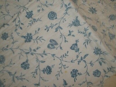 18thc BLUE AND WHITE INDIENNE FLORAL AND VICHY LINEN FRENCH RARE CA. 1780