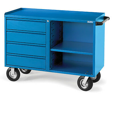 """Four-Drawer Bench Truck, 48x21x27"""", 8"""" Mold-On Rubber Casters, Blue, Lot of 1"""