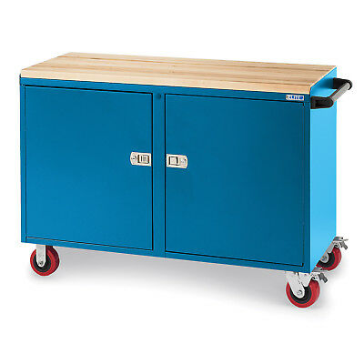 """Cabinet Bench Truck, 48x21x27"""", 8"""" Mold-On Casters, Blue, Lot of 1"""