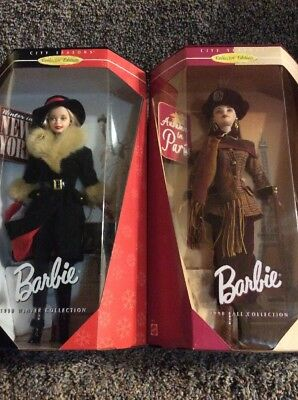 Mattel Barbie City Seasons Lot Of 2 Winter In New York,autumn In Paris Nrfb Nib-