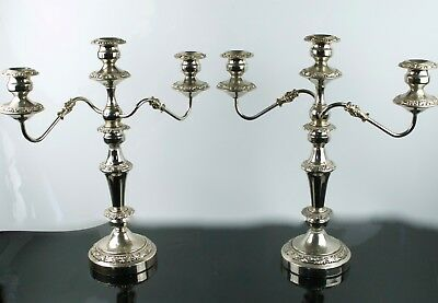 Vintage Pair of Silverplate Candelabra Triple Candleholders Hallmarked Crown GSC