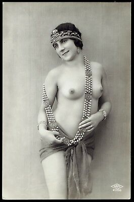 FLAPPER w JEWELED HAT - EARLY FRENCH NUDE REAL PHOTO POSTCARD - RPPC - SAPI 2086