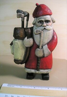 """SANTA GOLFER""  WOOD CARVING BY SHERRY LaTENDRESSE"