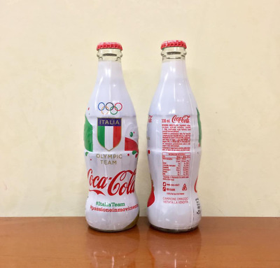 COCA COLA GLASS WRAPPED BOTTLE - 330ml CONI ITALIA - NEW FULL BOTTIGLIETTA PIENA