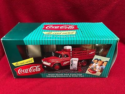 1996 Ertl Coke Coca Cola Stake Truck Die Cast Metal Vending Machine New In Box!