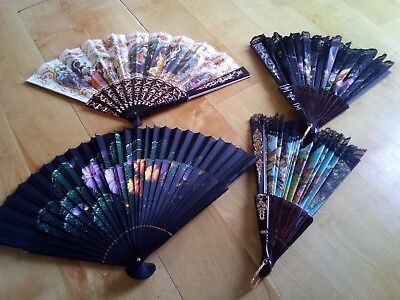 Bundle/job lot hand held folding fans x 4 vintage.