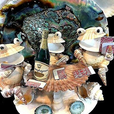 Card Playing, Champagne Swilling SHELL FROGS White Elephant Gag Gift Tchotchke