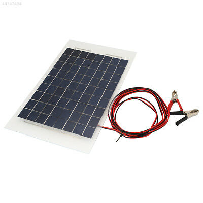 0C83 18V 10W Solar Charger Panel Portable Battery for Car W/Crocodile Clips