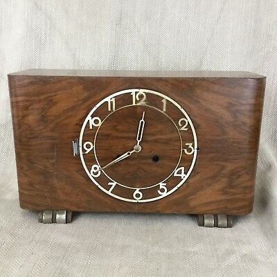 Large Art Deco Mantle Clock Walnut Westminster Chime Chiming Restoration Repair