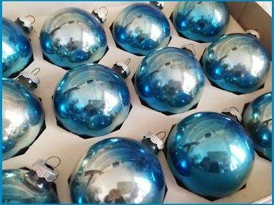 Beautiful Box Vintage Shiny Brite Rainbow Blue & Silver Antique Glass Ornaments