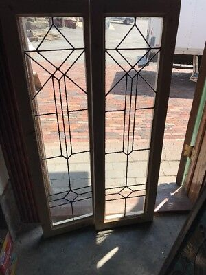 SG 2401 match Pair antique leaded glass of sidelight windows 14 x 46.25