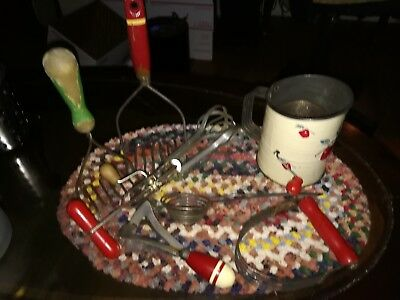 Lot 7 Vintage Kitchen Hand Tools SIFTER w/ Apples, Mashers, Chopper, Whipper!