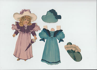 Antique 1894 Victorian Raphael Tuck Paper Doll 2 Dress 3 hat Artistic Series 104