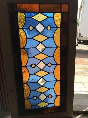 SG 2404 antique Stainglass beveled transom window Jewels 20.25 x 37.5