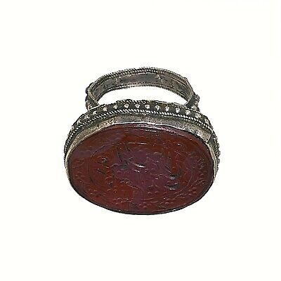 (2213) Antique Persian  silver ring with Islamic scripture.