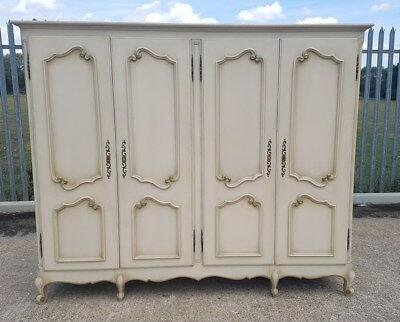 Louis XV Style Vintage French Carved shabby chic 4 door Armoire Wardrobe