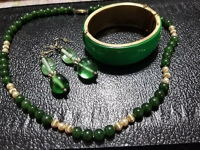 Lot of vintage antique jewelry GRANDMA'S estate  Green Glass  Lot 203