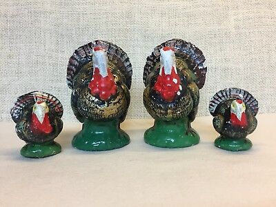 Set of 4 Vintage Decorative Paper Mache Turkeys - Japan