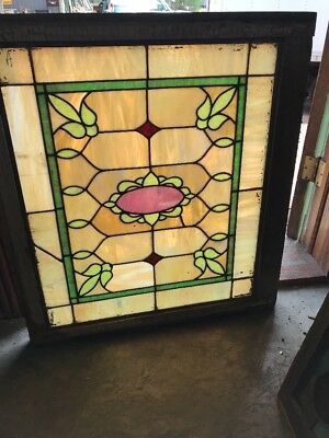 "SG 2409 antique Stainglass landing window 29 x 32"" wide"