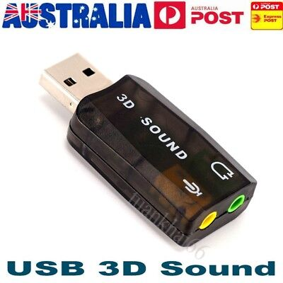 USB 2.0 to 3D AUDIO SOUND CARD EXTERNAL ADAPTER VIRTUAL 5.1 CH MIC
